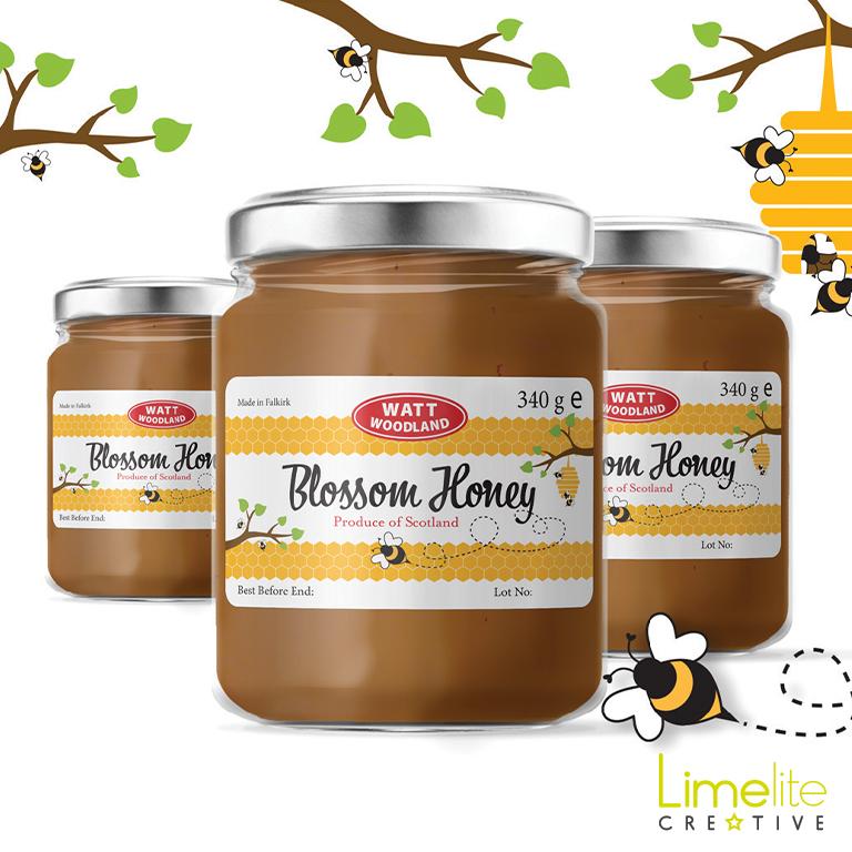 watt woodland delicious local blossom honey falkirk label design by limelite creative